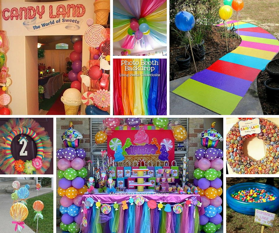 Candyland party ideas kids party ideas at birthday in a box for Decoration annee 80