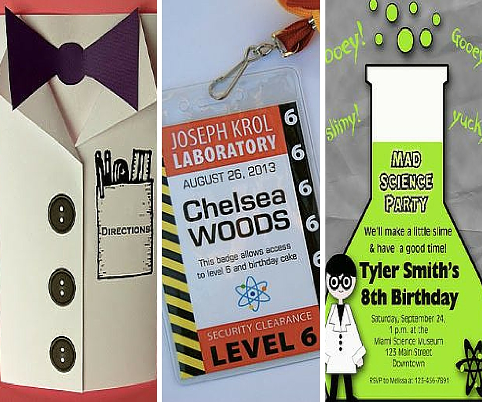 science birthday party ideas  kids party ideas at birthday in a box, Party invitations