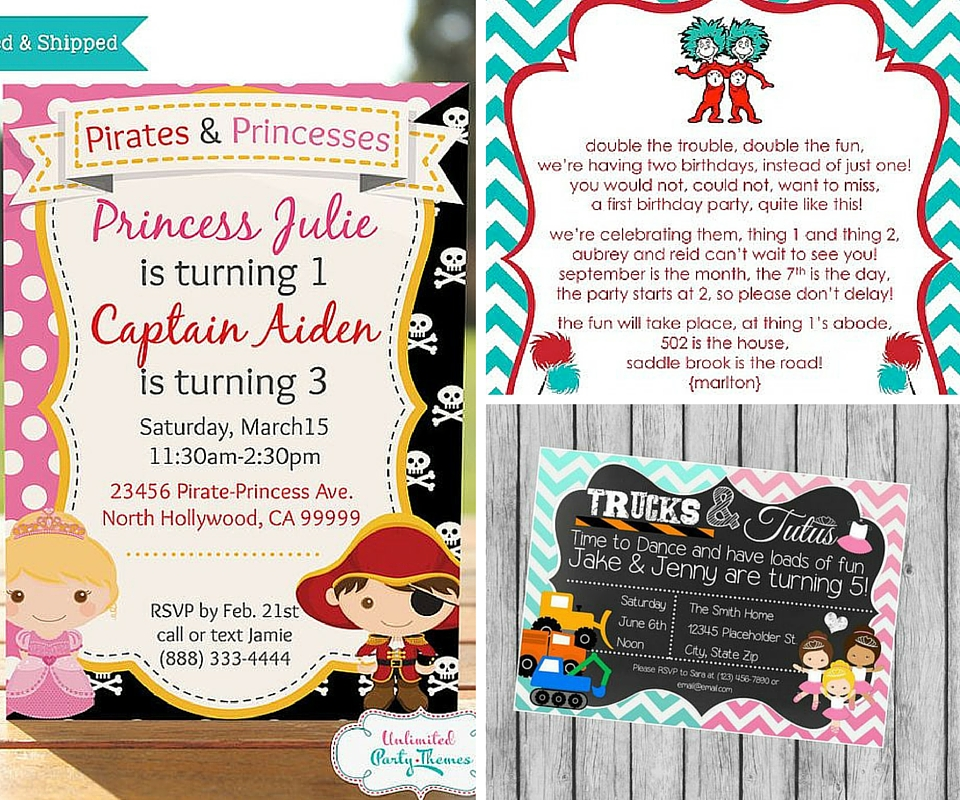 Twins party ideas birthday in a box twin party invites filmwisefo Gallery