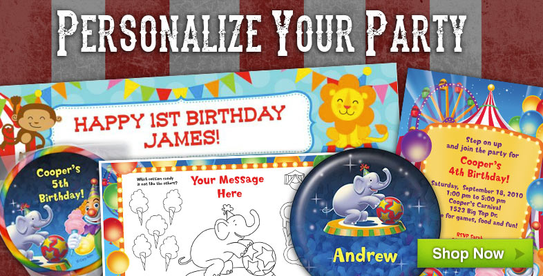 Personalized Circus Party Supplies