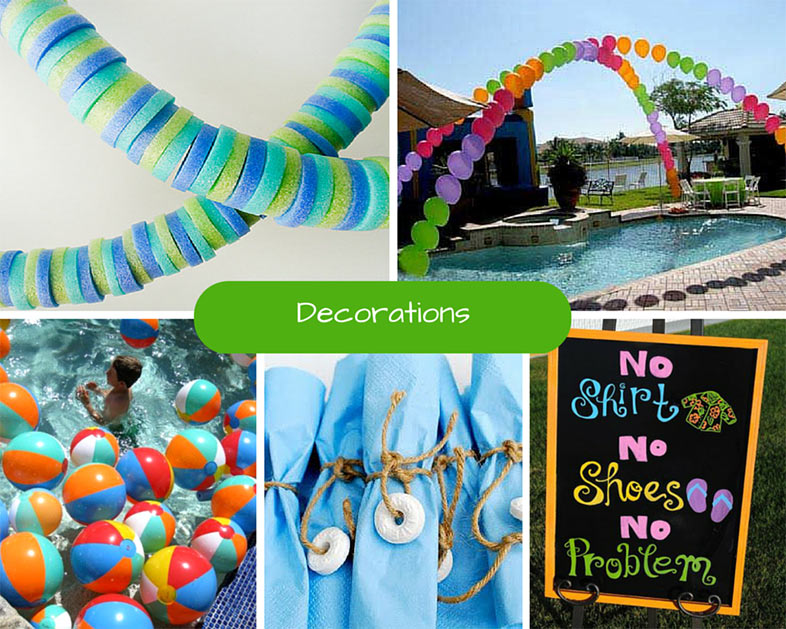 Kids pool party ideas summer party ideas at birthday in for Pool party dekoration